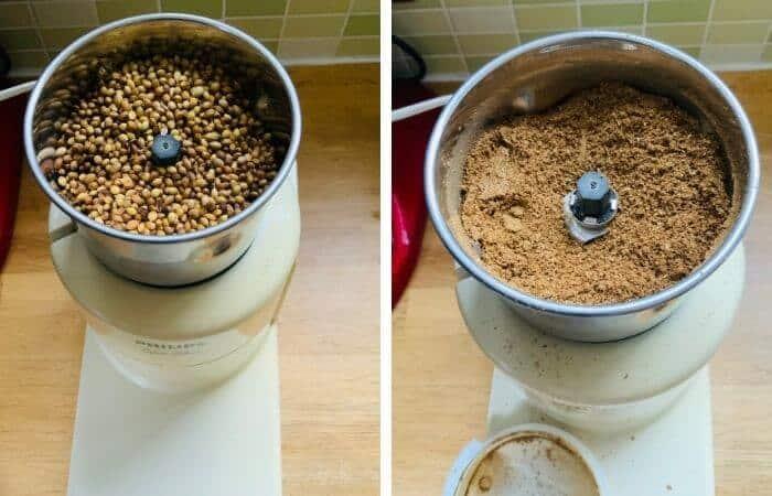 Powder roasted seeds in grinder