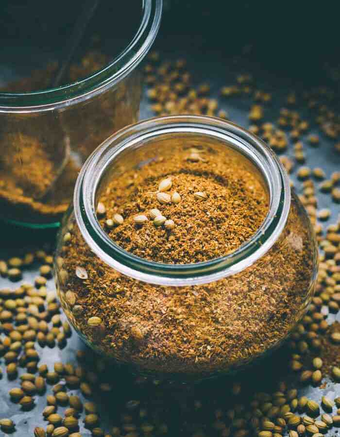 Ground Coriander Powder in spice jar