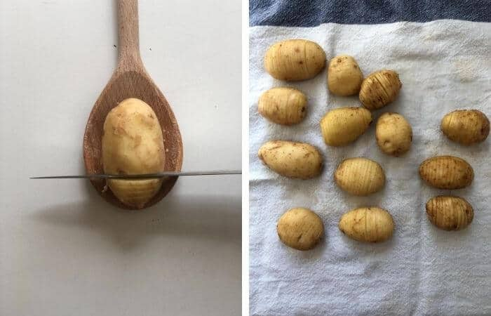 how to cut hasselback potatoes