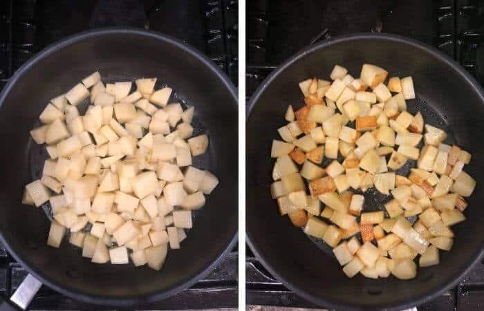 Saute Potatoes for Aloo Methi ki Sabzi