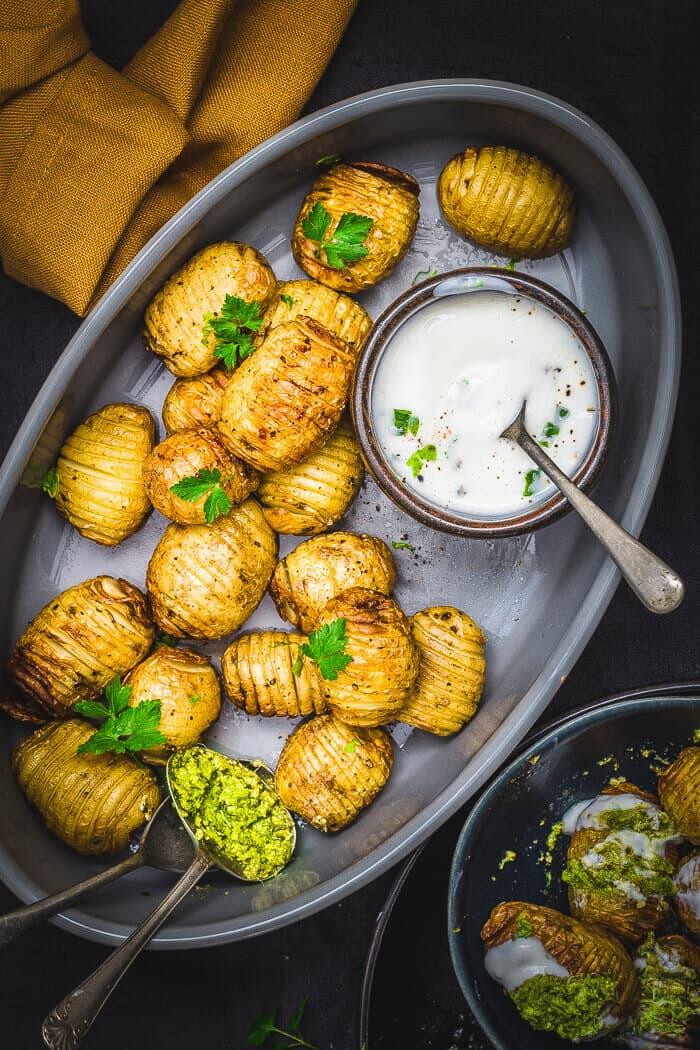 air fryer hasselback potatoes in a platter