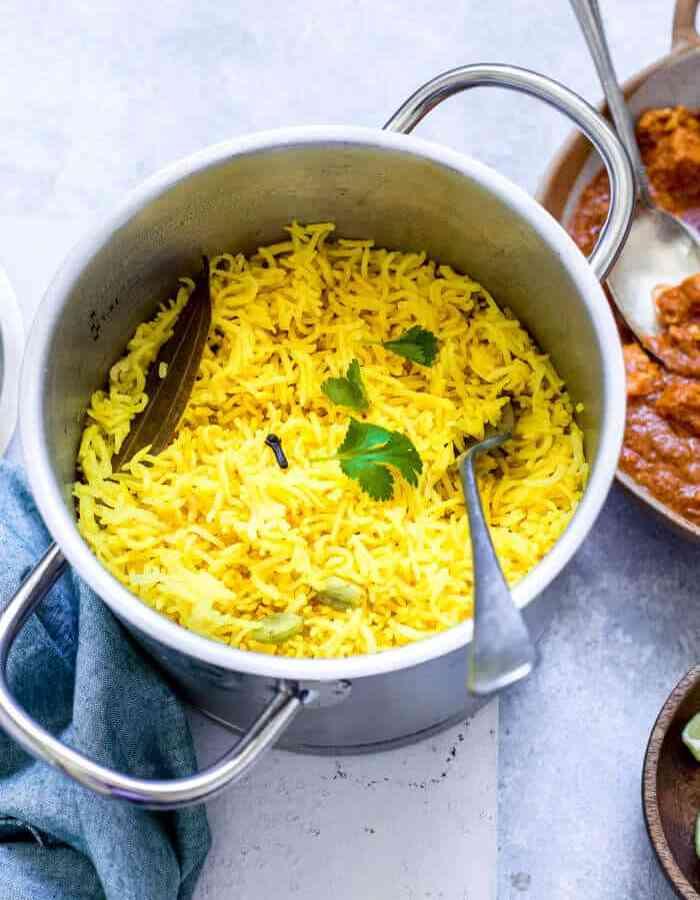 homemade pilau rice served with rogan josh