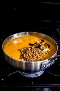 add lentils, aubergine