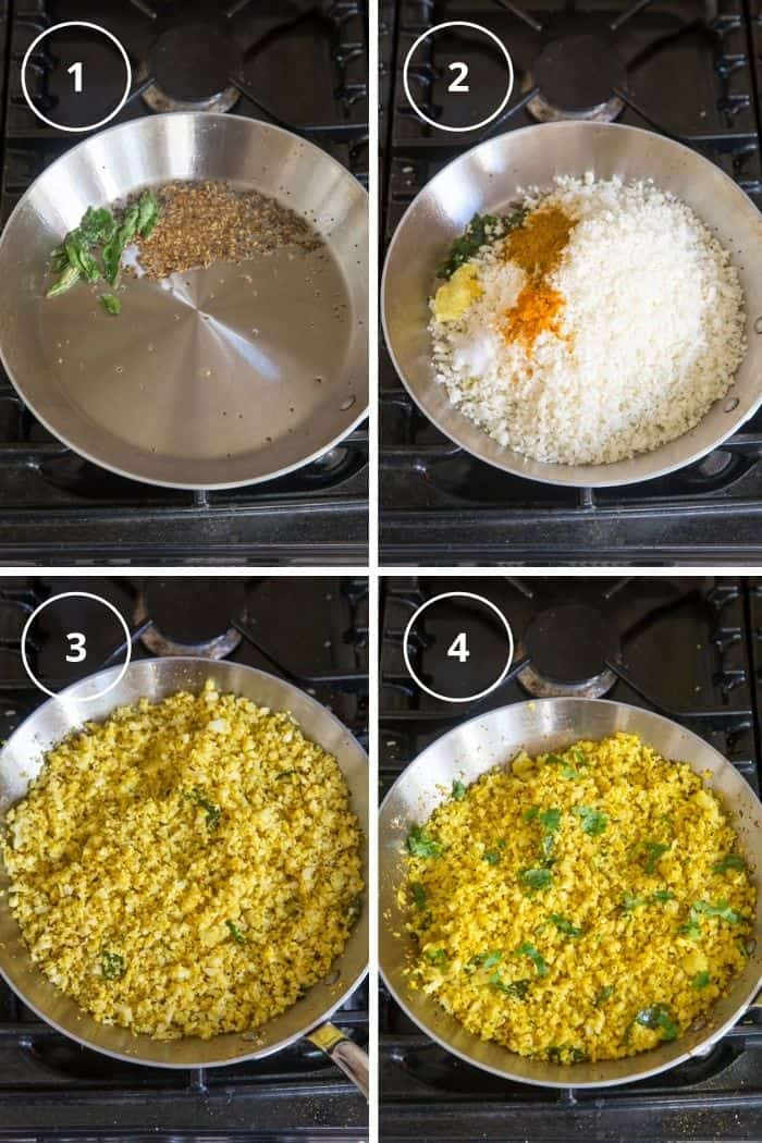 4 steps to make indian spiced cauliflower rice