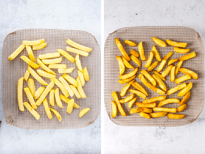 Oven cooked frozen chips
