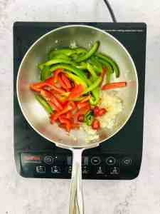 add peppers, chilli