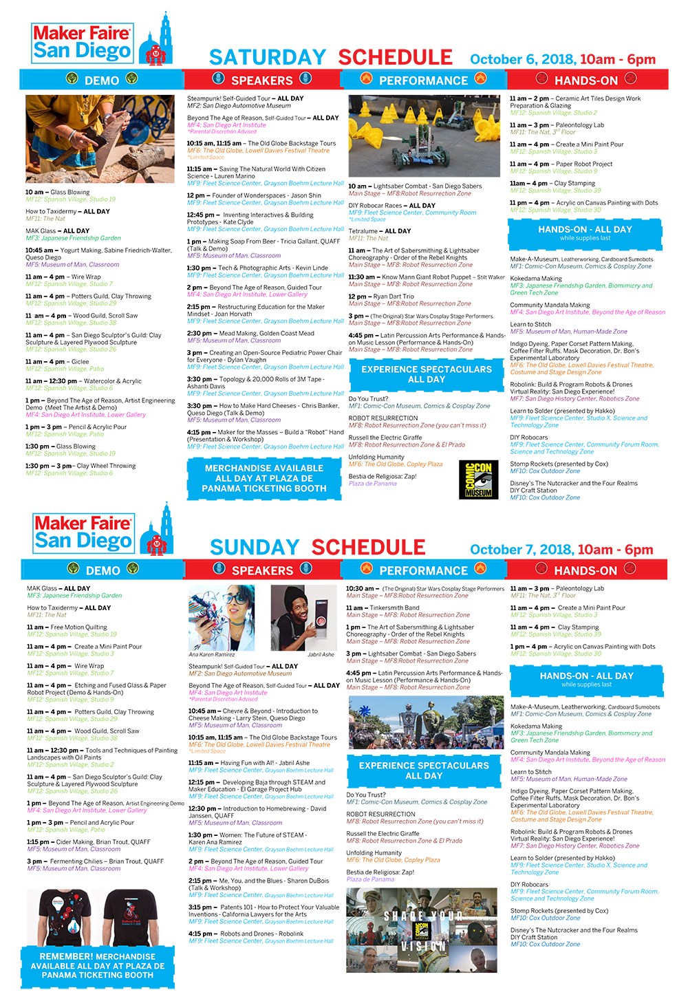 Schedule for 2018 Maker Faire San Diego