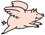Flying Pig Cartoon