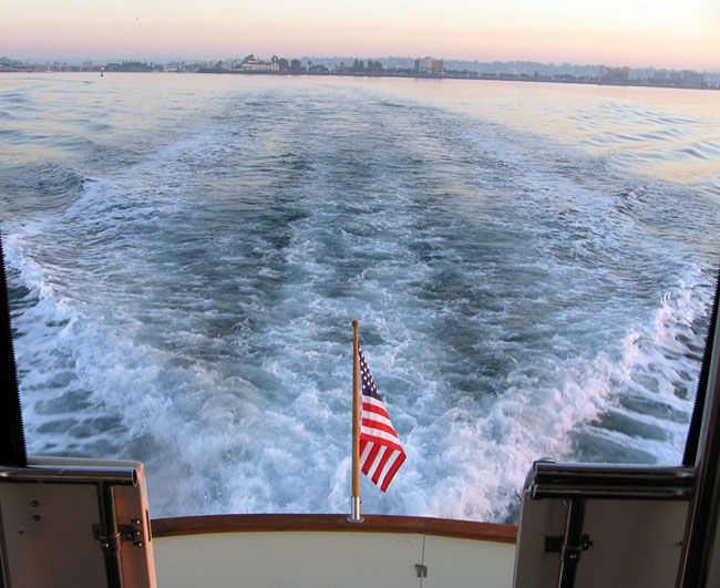 View looking aft from the sun-room with San Diego in the background.