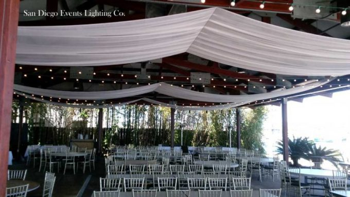 Bali Hai Wedding Photos Ceiling Draping with Market Lights