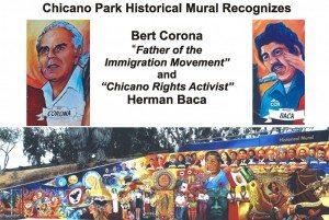 Bert Corona n Herman Baca mural