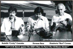 Corky Gonzalez, Herman Baca, Bert Corona, 1977