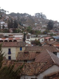 "View from our hotel's continental breakfast spot. ""Los techos (roofs) del Cuzco."""
