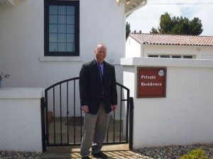 New director Doug Ledbetter in front of the 'lodge'