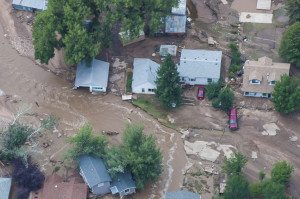 Handout of an aerial photo of flood-affected area of northern Colorado along the Big Thompson River