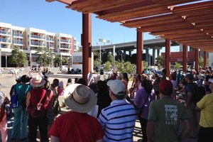 The imported Trolley Dances audience viewing the performances.