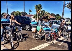 Bikers for Alvarez in OB, via Gretchen Newsom twitter