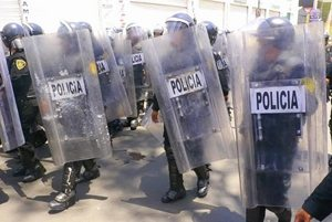 Mexican police out in full force against angry teachers.