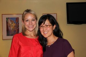 Sarah Boot (L) posing with District 6 endorsee Carol Kim via Clairemont Democratic Club