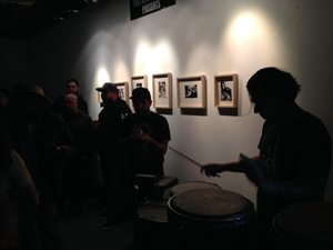 Paul Lopez of Cumbia Machin pounding on the timbales at Voz Alta's last show.