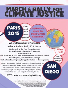 Flyer for SD350.org climate rally SD350 2015-12-12