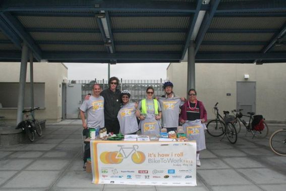 Ryan Wiggins, Randy Van Vleck, Emily Monahan, Laura Ann Fernea, Stephen Russell and Maria Cortez — at El Cajon Blvd. Transit Plaza celebrating Bike to Work Day. Photo City Heights CDC