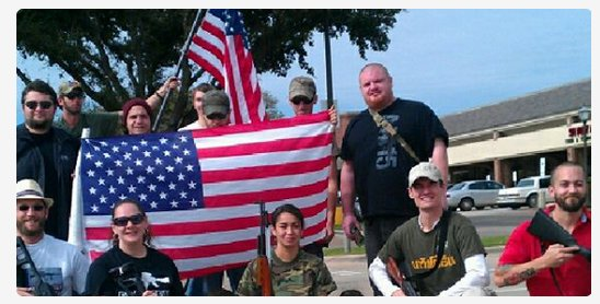 These 'open carry' advocates showed up outside a Moms Against Guns meeting.
