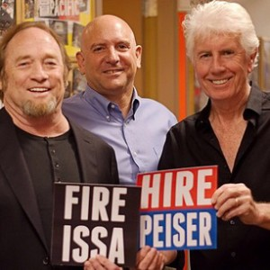 Rockers Steve Stills and Graham Nash posing with Peiser in the middle.
