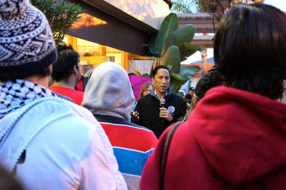 City Council President Todd Gloria at the sunrise McDonald's protest in City Heights (SEIU Photo)