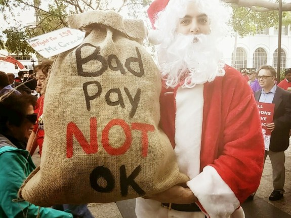 Santa Claus was among the the protesters in downtown San Diego. He had a special delivery of coal for the downtown types who oppose an increase in the minimum wage.