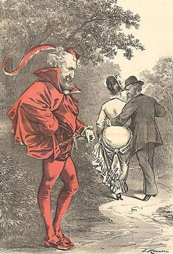 """A political cartoon by Joseph Keppler depicts Roscoe Conkling as a character Mephistopheles (the devil) while Rutherford B. Hayes strolls off with the prize of the """"Solid South"""" depicted as a woman."""