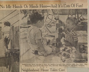 Newspaper clipping: Neighborhood House child care