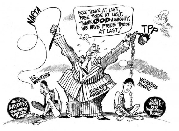 Free Trade at Last, an OtherWords cartoon by Khalil Bendib
