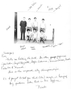 Neighborhood House basketball team with coach Pinkerton, c.1943 with annotations