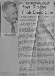 Newspaper article on Neighborhood House coach Merlin Pinkerton