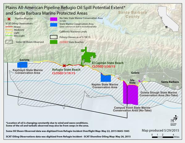 map of plains all american pipeline refugio oil spill potential extent and santa barbara marine