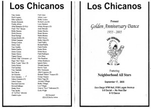 Los Chicanos Golden Anniversary Dance program