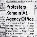 San Diego Union article, October 8, 1970: Protesters Remain At Agency Office