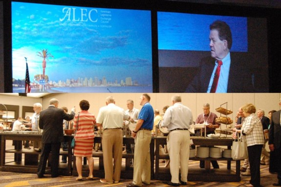 Top: Arthur Laffer. Bottom: ALEC breadline. Photos by Bill Raden