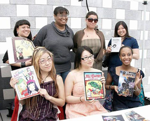 Women in Comics members with panel moderator and writer Regine Sawyer of Lockett Down Productions Publications at bottom right.