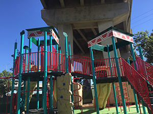 New, sandless playgrounds were the number one community priority for Chicano Park.