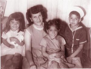 Maria Ramirez and children, 1955