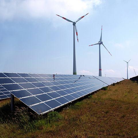 Solar panels and wind energy turbines