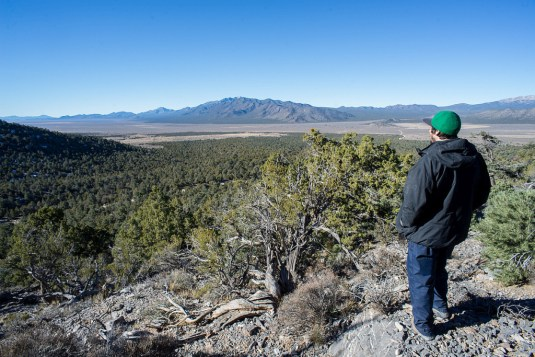 Will Falk looks out across both natural and highly-impacted lands in Cave Valley, Nevada.