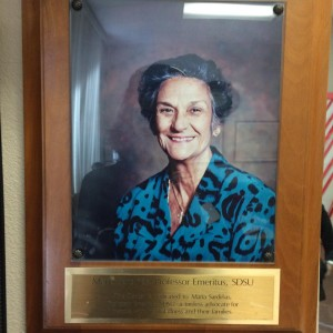 Photo of plaque for Dr. Maria Sardiñas