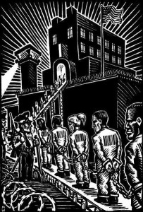 Block cut style graphic of file of chained prisoners on asssembly line into a prison