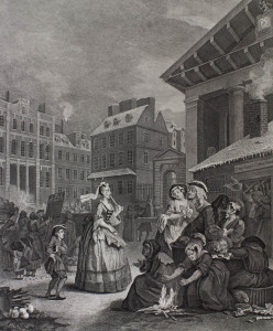 Hogarth engraving: Four times of day : Morning