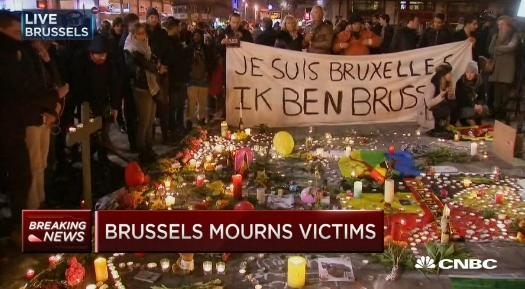 Screen shot of CNBC video showing memorial for victims of Brussels March 23 2016 terrorist attacks