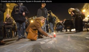 Screenshot of Daily Mail video showing March 23 2016 Brussels terrorist attack memorial in Bourse Square