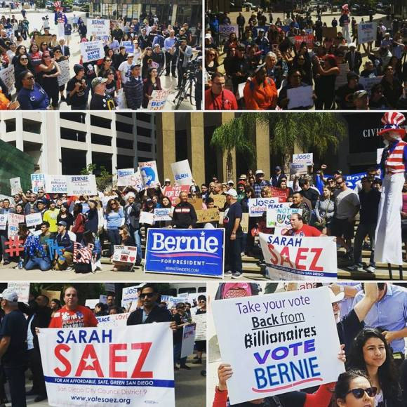 Here's Sarah Saez' excellent collage of the recent Bernie Sanders march via Facebook